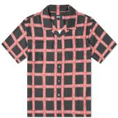 Stussy Hand Drawn Plaid Shirt in Red and Black