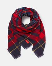 Heyford Oversized Square Check Scarf in Navy