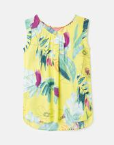 210434 Printed Capped Sleeve Shell Top in Yellow
