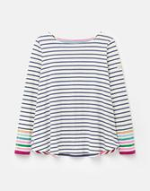 Harbour Light Swing Long Sleeve Jersey Top in White and Blue