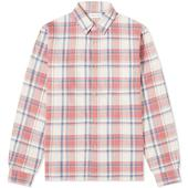 John Elliott Sly Cotton Straight Hem Shirt in Pink and Neutral