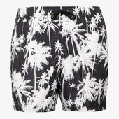 Black Palm Print Recycled Polyester Shorts in Black and White