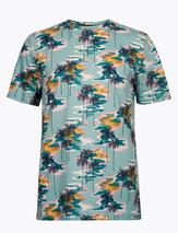Pure Cotton Hawaiian Print T-Shirt in Blue