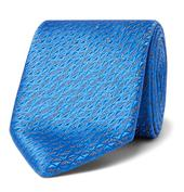 7.5cm Silk and Linen-Blend Jacquard Tie in Blue