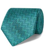7.5cm Silk-Jacquard Tie in Green