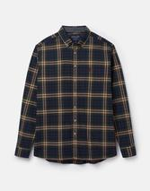 Buchanan Long Sleeve Classic Fit Peached Poplin Shirt in Multicoloured and Navy