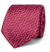 7.5cm Silk and Linen-Blend Jacquard Tie in Red