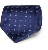 8.5cm Silk-Jacquard Tie in Navy
