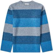 JW Anderson Striped Crew Knit in Grey and Blue