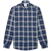 Norse Projects Hans 50/50 Check Shirt in Blue
