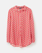 Elvina Button Front Woven Shirt in Red