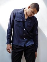 Pocketed Camp Collar Shirt in Navy