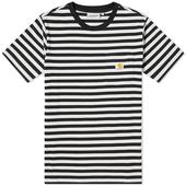 Carhartt WIP Parker Stripe Pocket Tee in Black and White