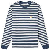 Carhartt WIP Long Sleeve Parker Stripe Pocket Tee in White and Navy