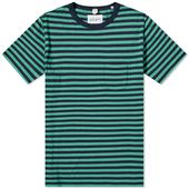 Albam Classic Stripe Tee in Green and Blue
