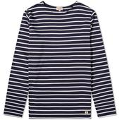Armor-Lux Long Sleeve 73792 Mariniere Tee in White and Navy