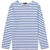 Armor-Lux Long Sleeve Loctudy Tee in White and Blue