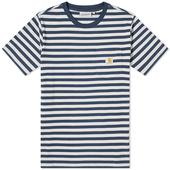 Carhartt WIP Parker Stripe Pocket Tee in White and Blue