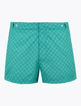 Geometric Print Swim Shorts in Green