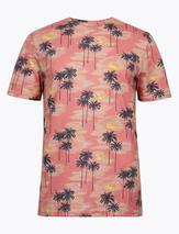 Pure Cotton Hawaiian Print T-Shirt in