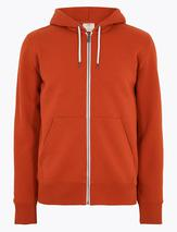 Cotton Zip Up Hoodie in Orange