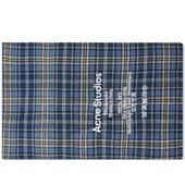 Acne Studios Cassiar Tartan Narrow Scarf in Blue