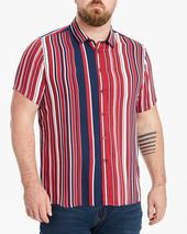 Jacamo Stripe Viscose Short Sleeve Shirt Long in Multicoloured