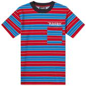 PLEASURES Chainsmoke Stripe Tee in Red and Blue