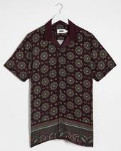 Paisley Viscose Short Sleeve Shirt Long in Red
