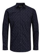 Ditsy Floral Print Long Sleeve Shirt in Navy
