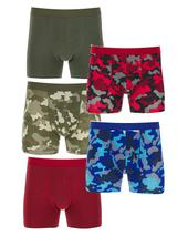 Pack of 5 Camo Print Hipsters in Red, Green and Blue