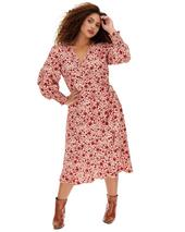 Pink Floral Wrap Midi Dress in Pink