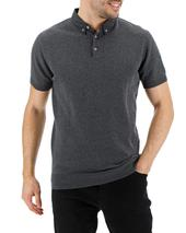 Woven Collar Knitted Short Sleeve Polo Long in Grey