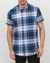 Navy Check Short Sleeve Shirt Long in Navy