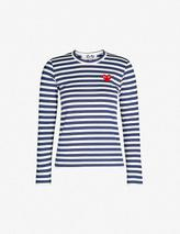 Heart-embroidered striped cotton-jersey top in Navy