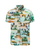 Beach Print Short Sleeve Shirt Long in Multicoloured