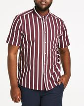 Stripe Short Sleeve Shirt Long in Red