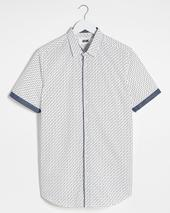 White Polka Dot Short Sleeve Shirt Long in White