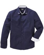 Navy Floral Trim Detail L/S Party Shirt Long in Navy