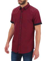 Red/Blue Check Double Collar Short Sleeve Shirt Long in Red