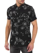 Floral Print Short Sleeve Shirt Long in Black