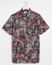 Dark Floral Short Sleeve Shirt Long in Multicoloured