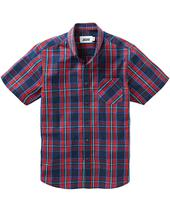 Check Short Sleeve Shirt Long in Red and Navy