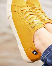Coast Pump Canvas Lace Up Trainers in Yellow