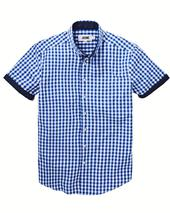 Jacamo Gingham Check Short Sleeve Shirt Long in Blue