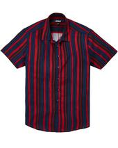 Jacamo Stripe Viscose Short Sleeve Shirt Long in Red and Navy