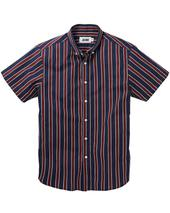Jacamo Stripe Short Sleeve Shirt Long in Red and Navy