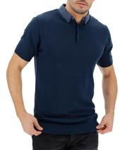 Woven Collar Knitted Short Sleeve Navy Polo Long in Navy
