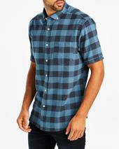 Jacamo Blue Buffalo Check Short Sleeve Shirt Long in Blue