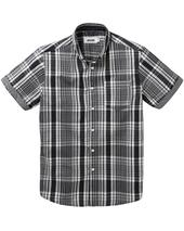 Jacamo Check Short Sleeve Shirt Long in Grey